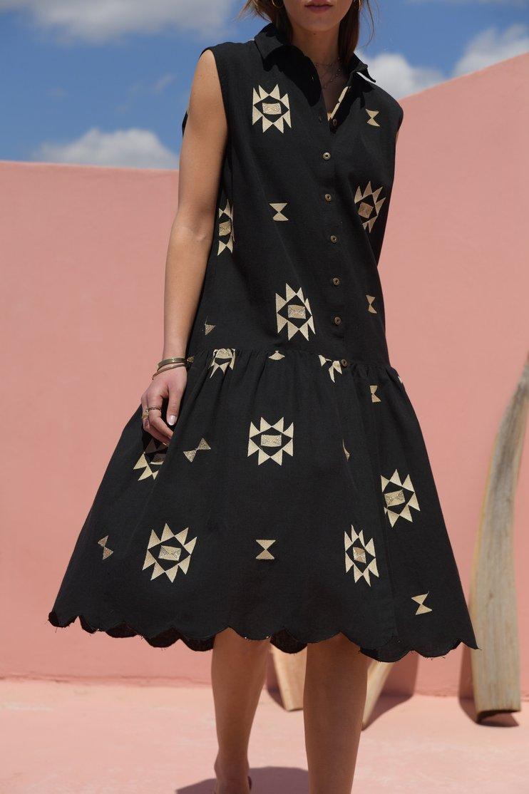 Anastasia black button down dress