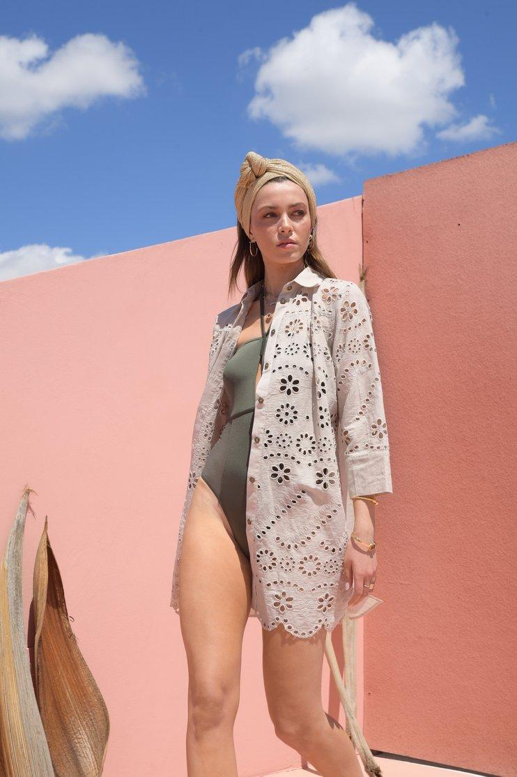 Anna sand button down lace details shirt