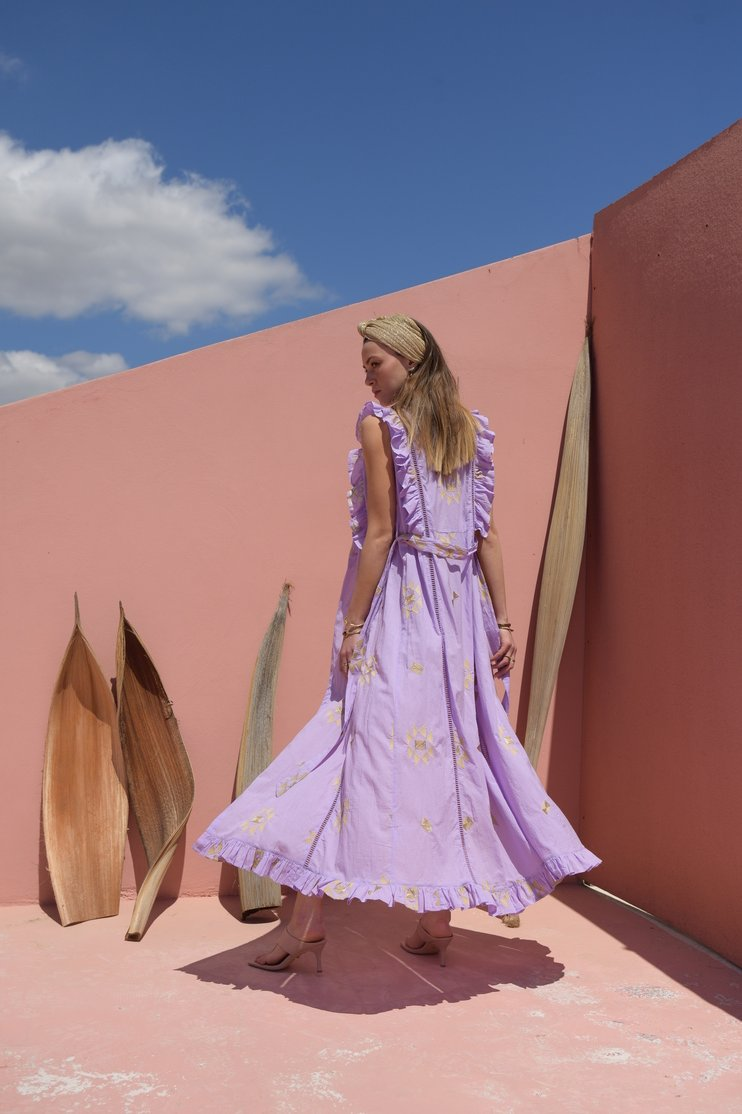 Harmonia Lavender coverup embroidered details