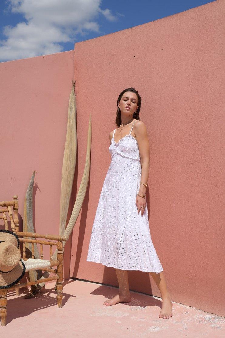 Melanie white lace midi dress