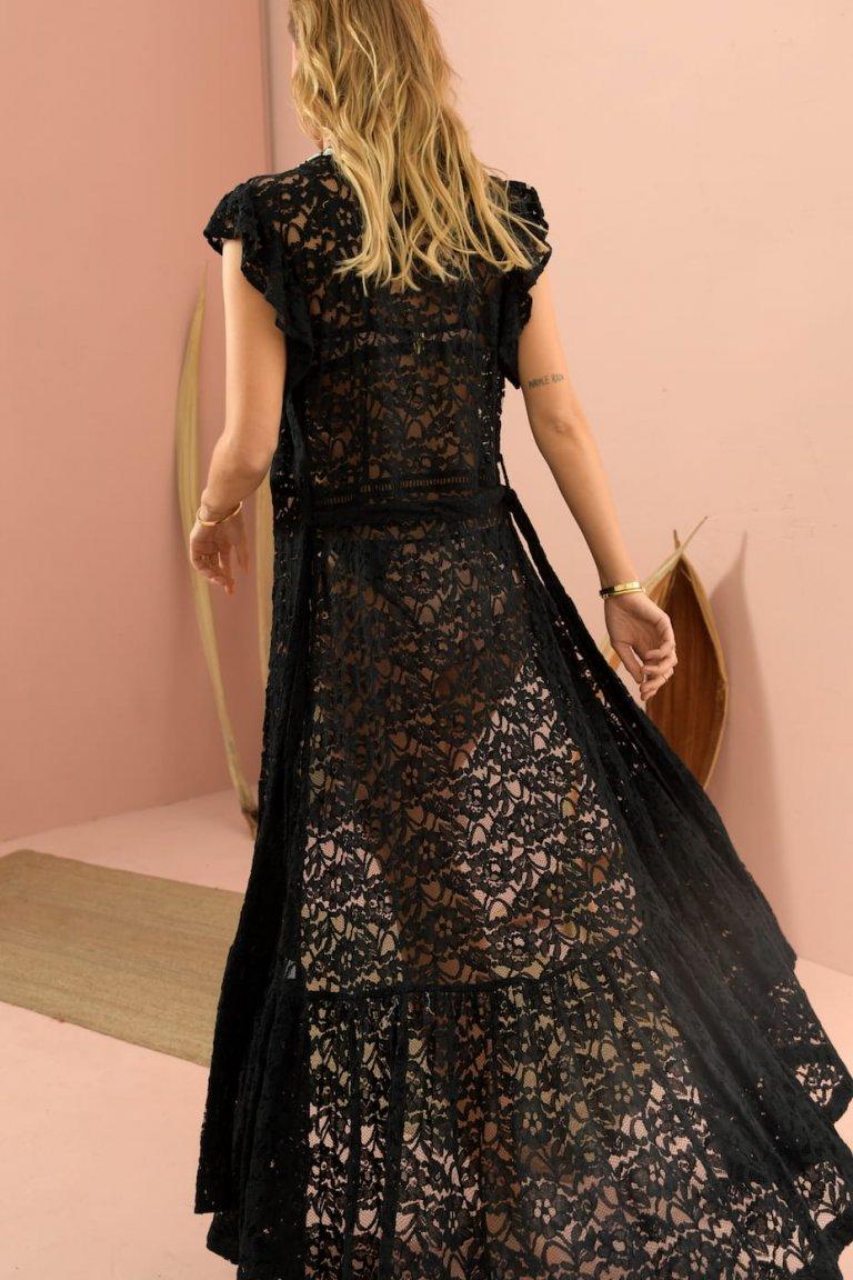Acacia black lace long coverup