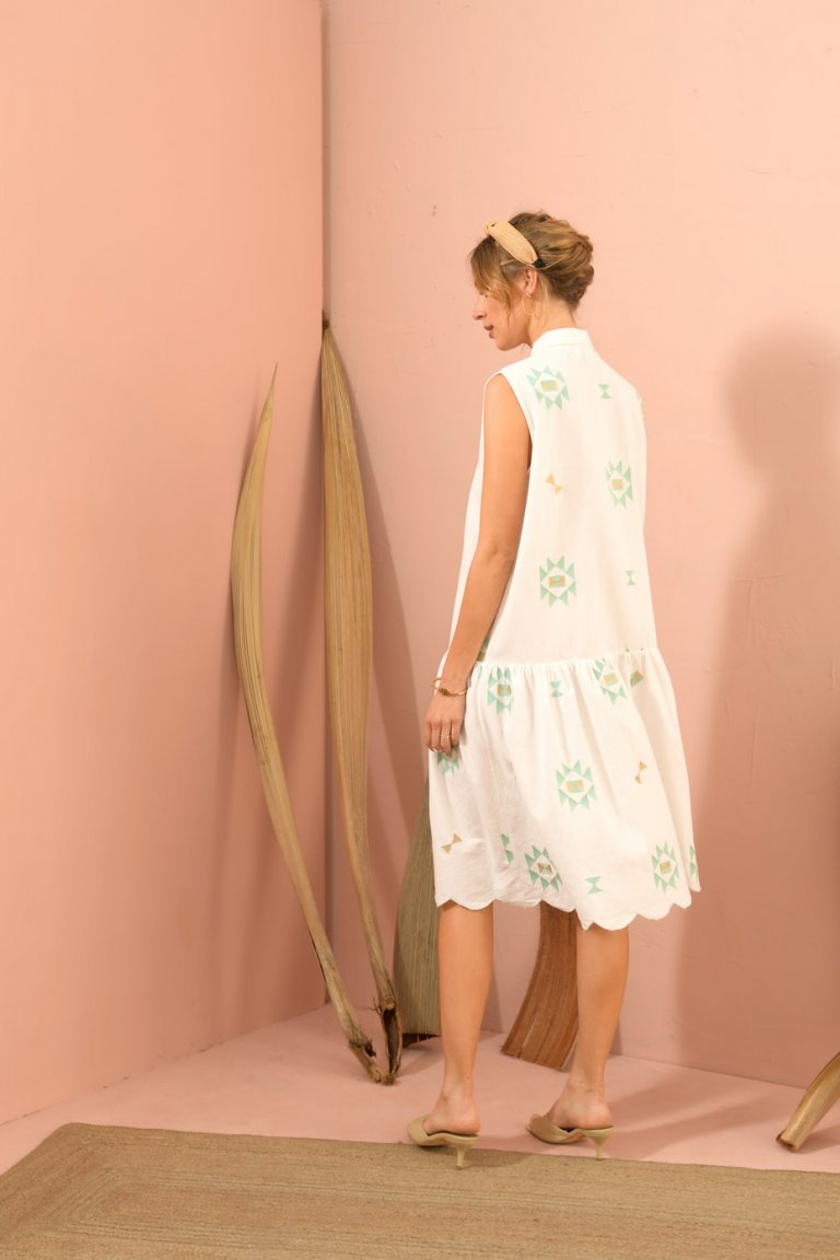 Anastasia white button down dress