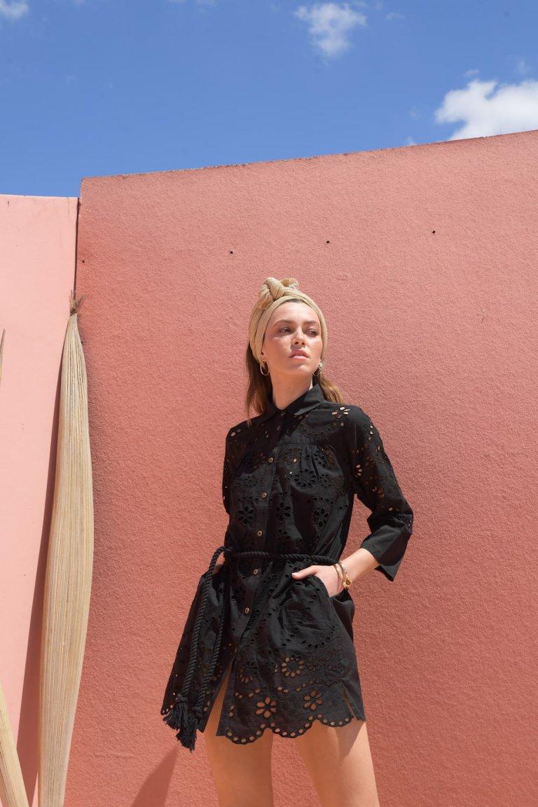 Anna black button down lace details shirt