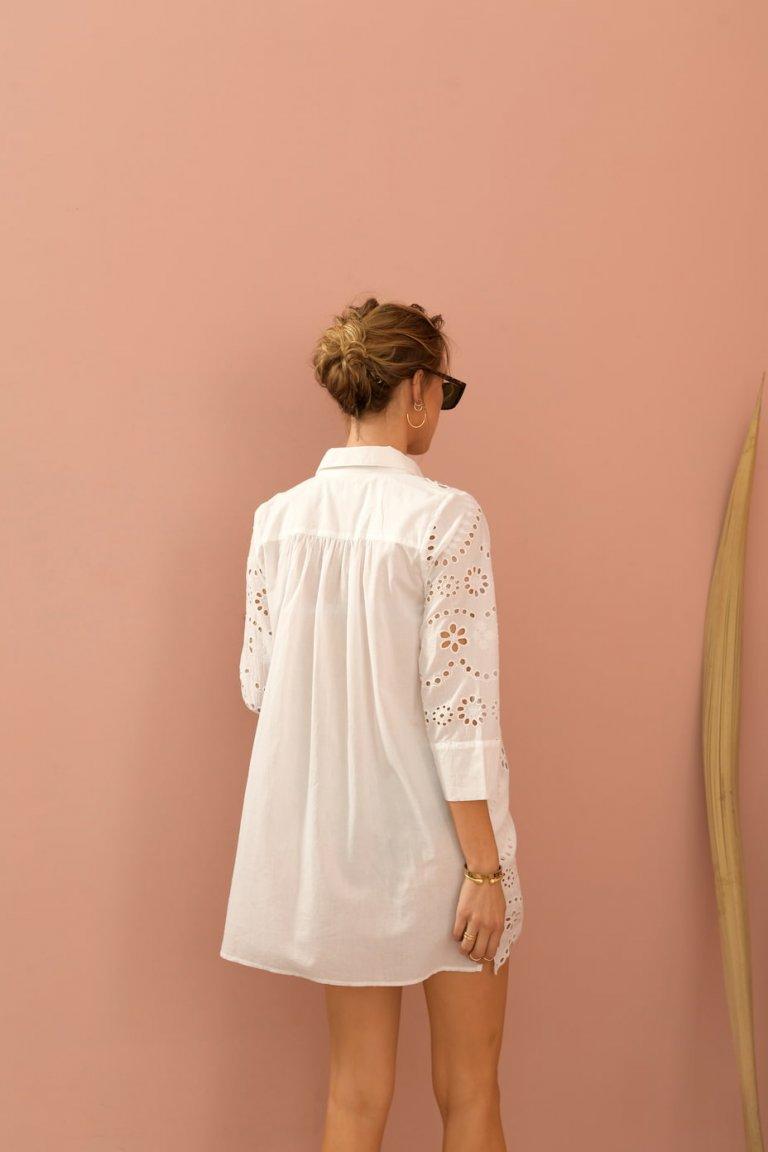 Anna white button down lace details shirt