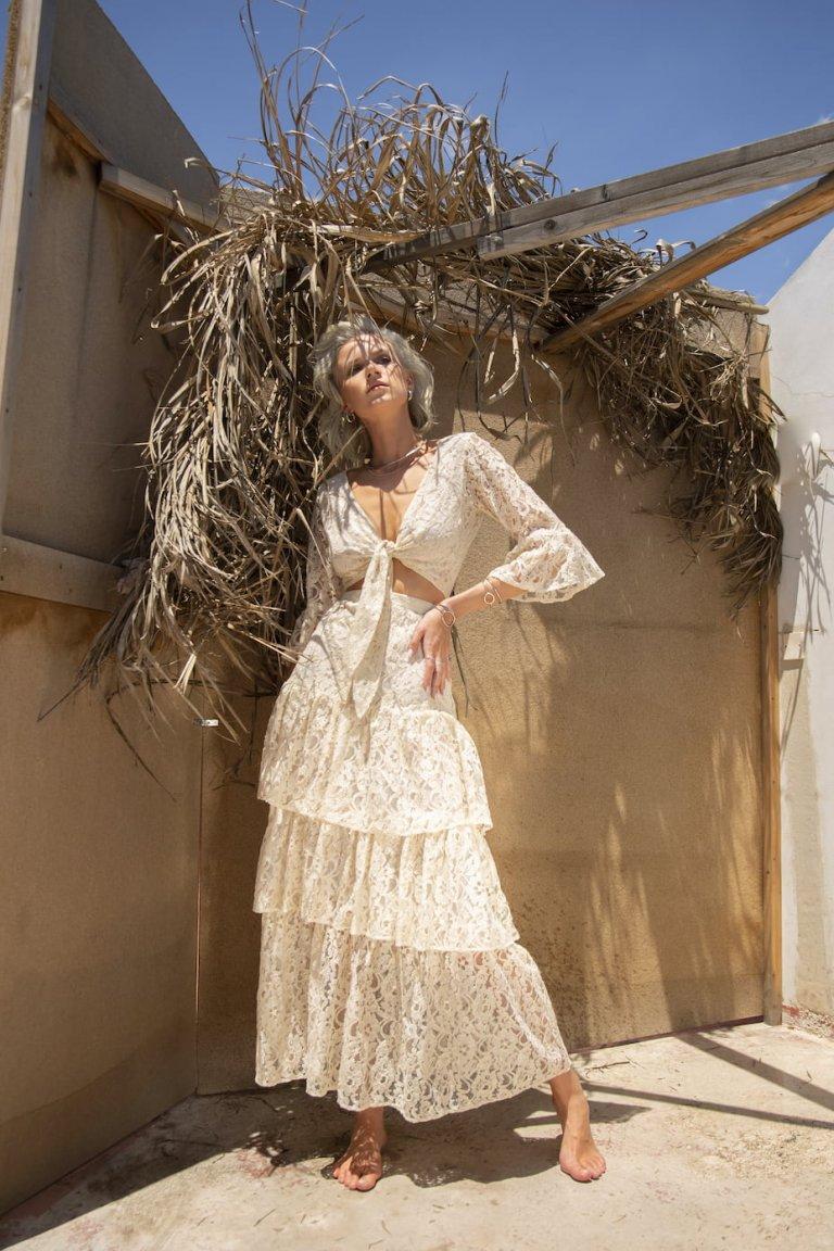 Atalanta ivory lace set/skirt & top