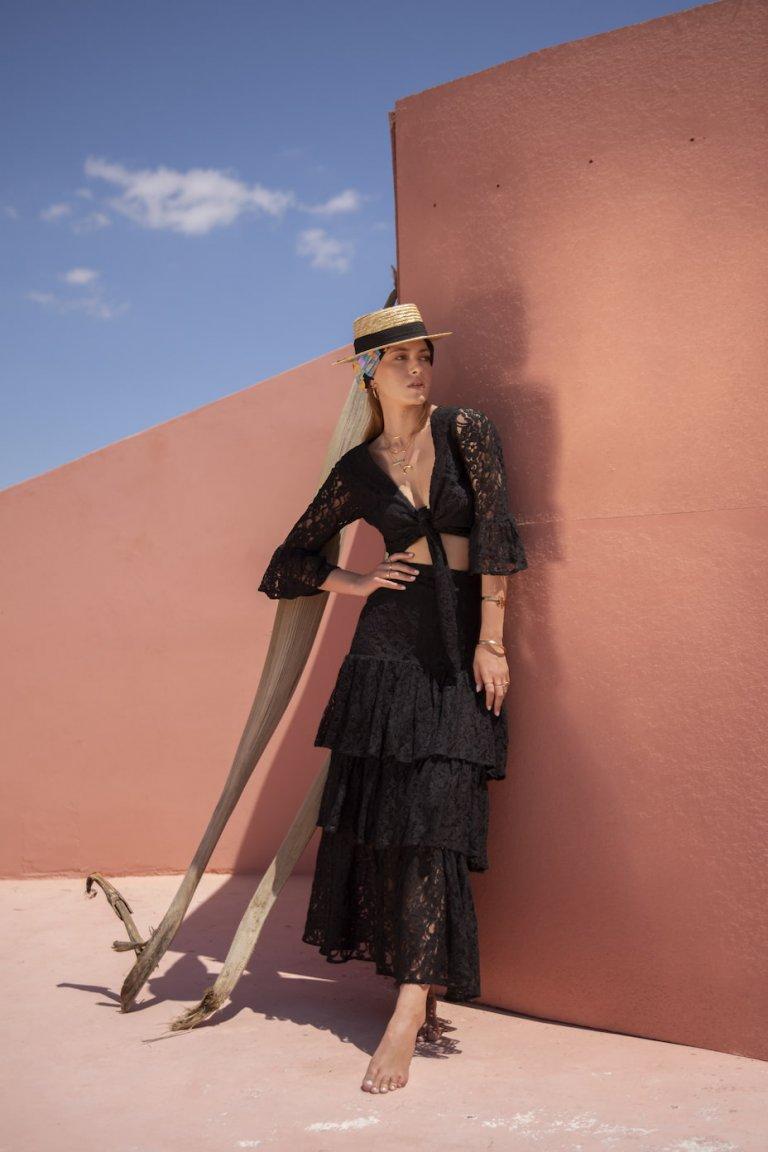Atalanta black lace set/skirt & top