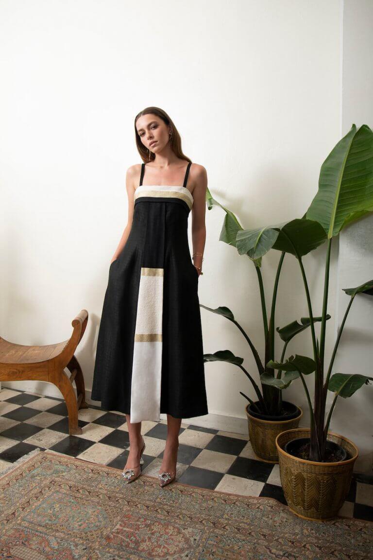 Audrey luxury black midi dress