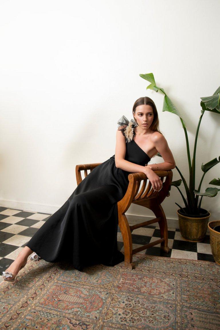 Brigitte luxury one shoulder black dress