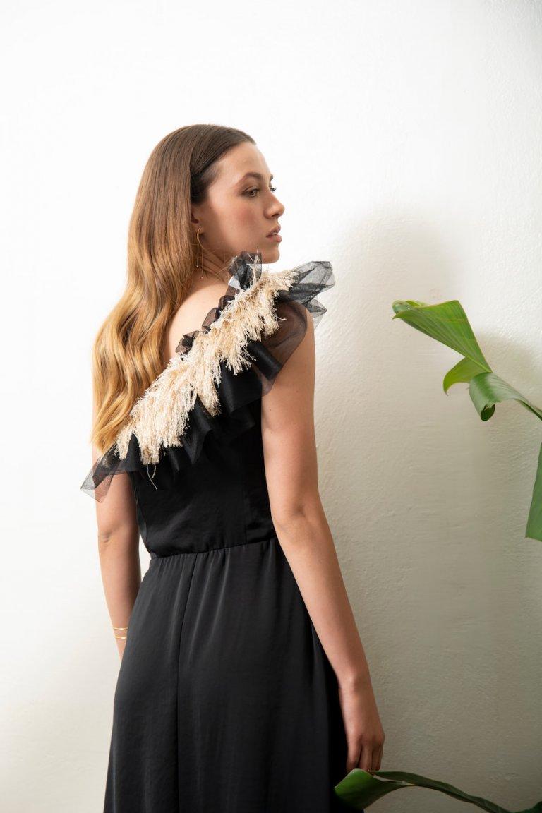 Brigitte one shoulder black dress