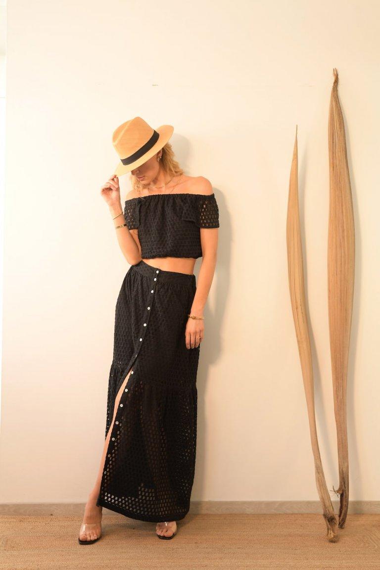 Cassia black set/Skirt & top