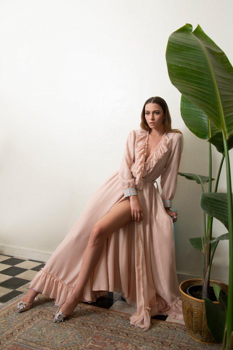 Catherine luxury maxi wrap light pinkdress