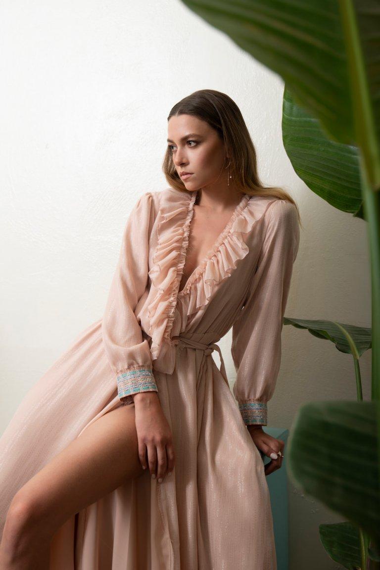 Catherine maxi light pink wrap dress