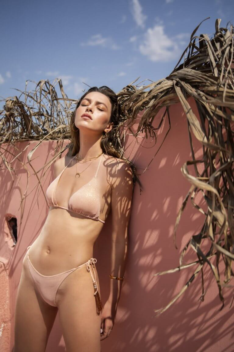 Circe shiny light pink two piece suit