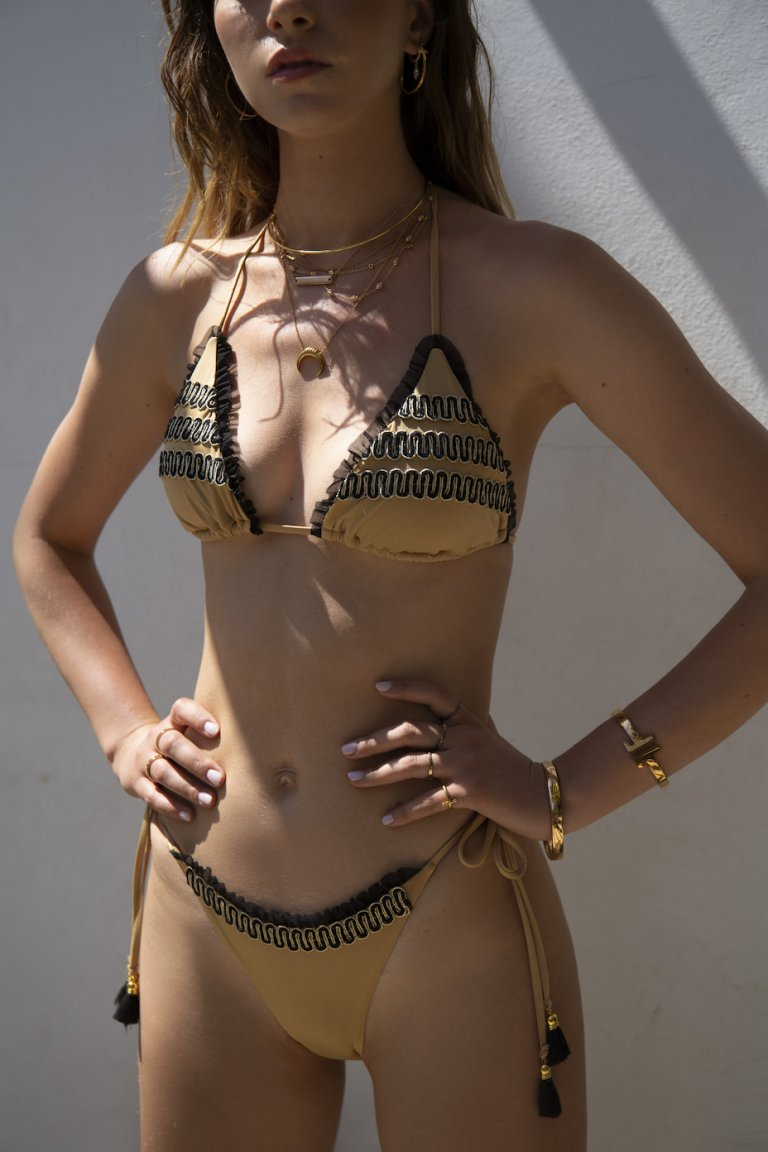 Dionysia two-piece gold suit