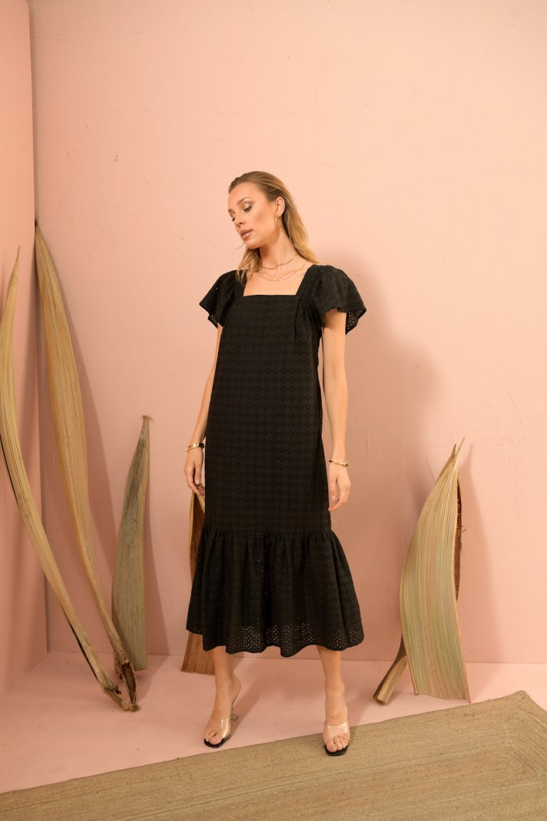 Elena midi black dress