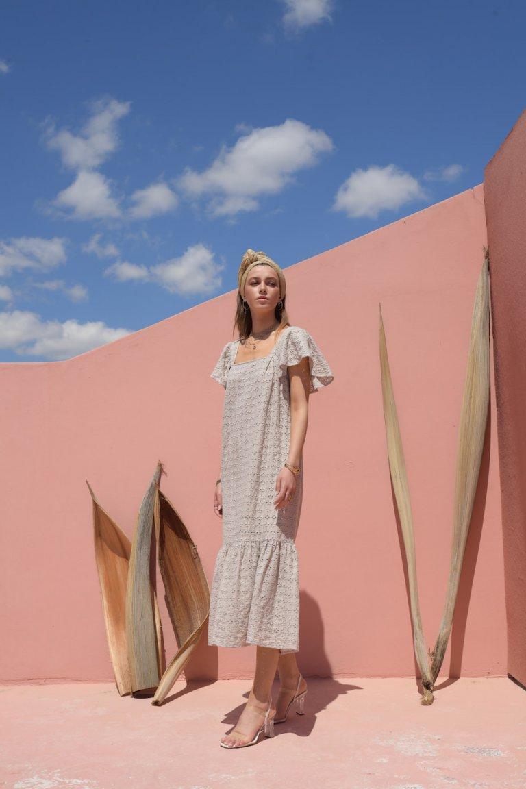 Elena midi sand dress