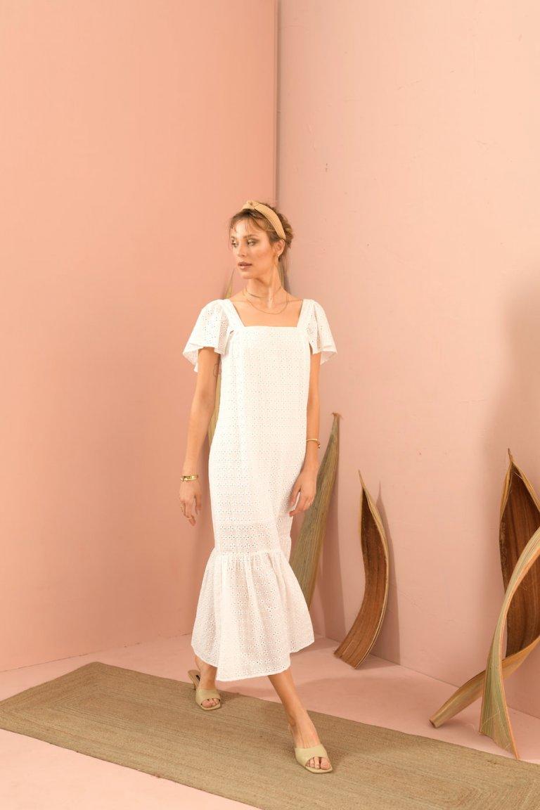 Elena midi white dress