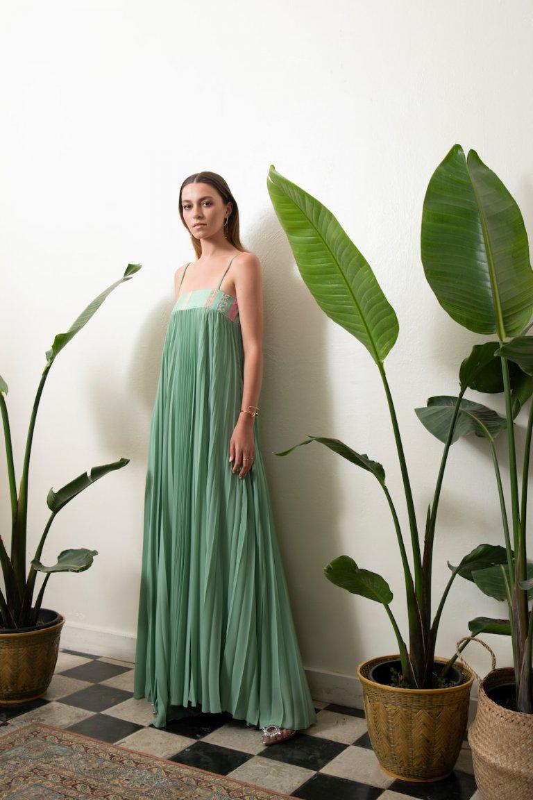Ingrid luxury maxi plisse mint dress
