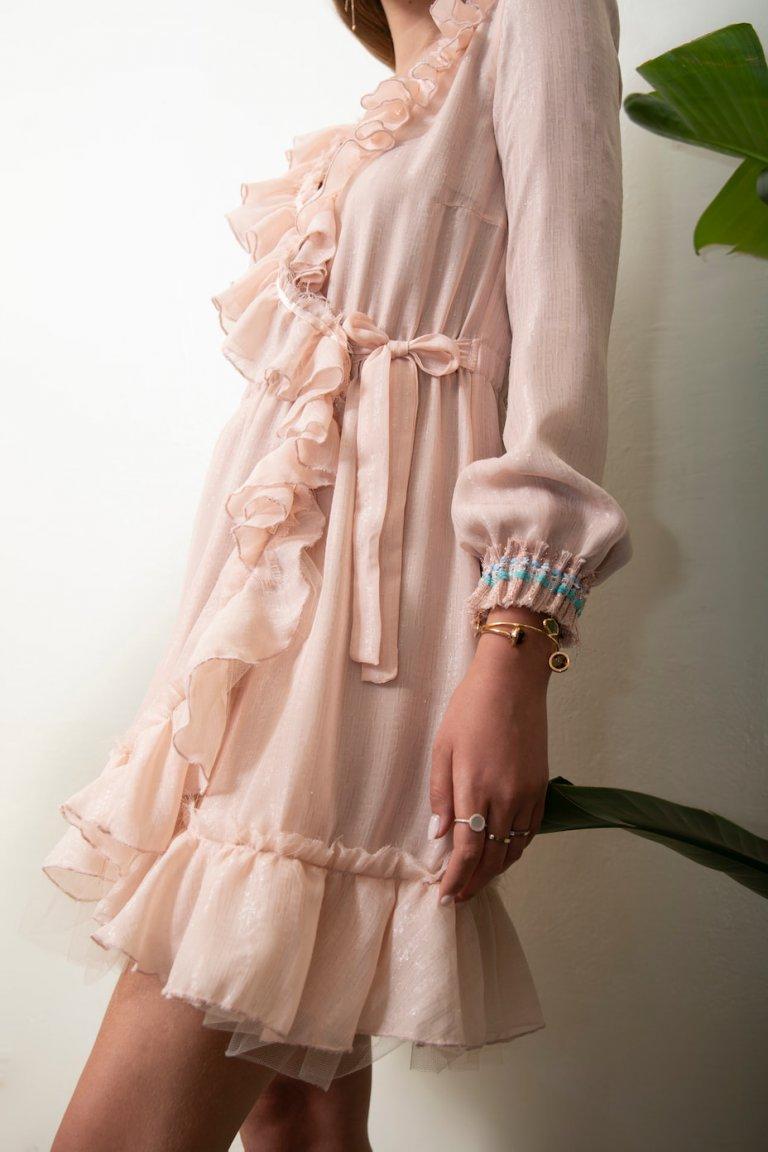 Jo light pink wrap dress