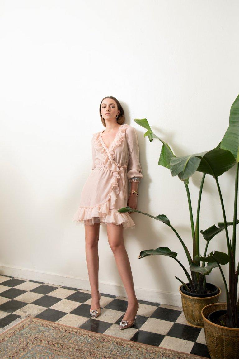 Jo luxury wrap light pink dress