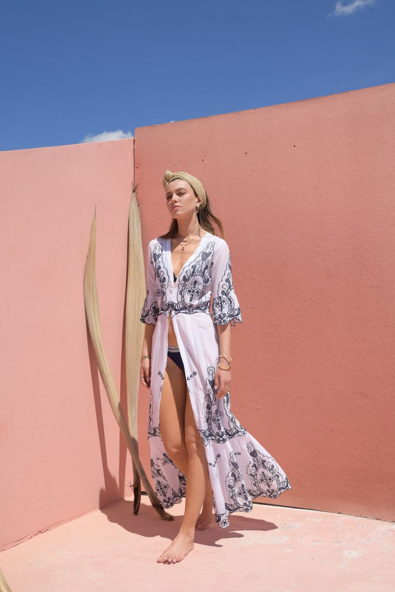 Katerina blue embroidered coverup