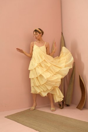 Magda ruffled yellow long dress
