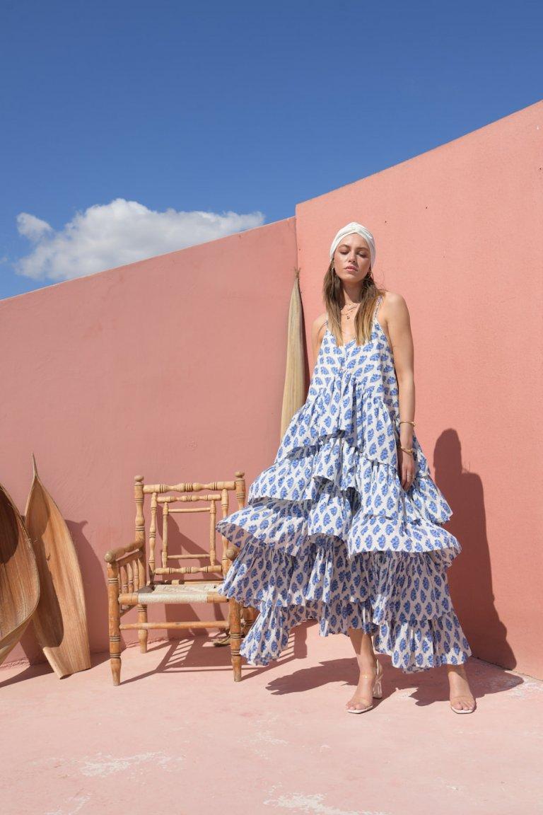 Magda printed long ruffled dress