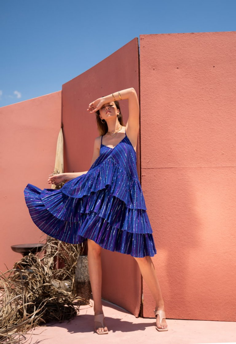 Magda short blue lurex ruffled dress