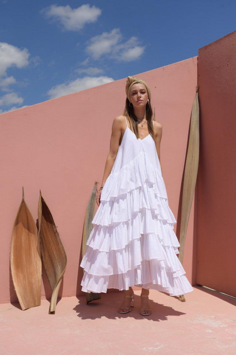 Magda white maxi ruffled dress