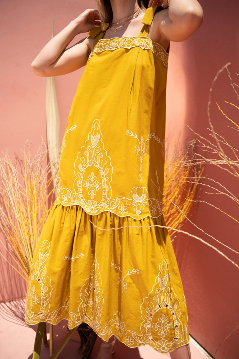 Magdalena midi mustard yellow dress