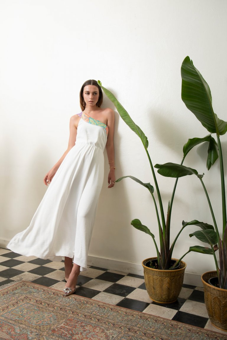 Mairylin one shoulder white dress embroidery d