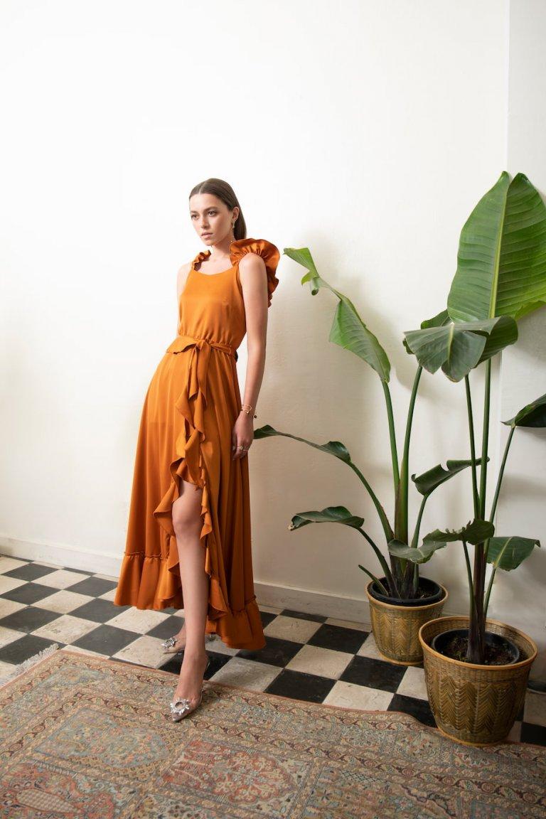 Margaret luxury satin ruffled dress
