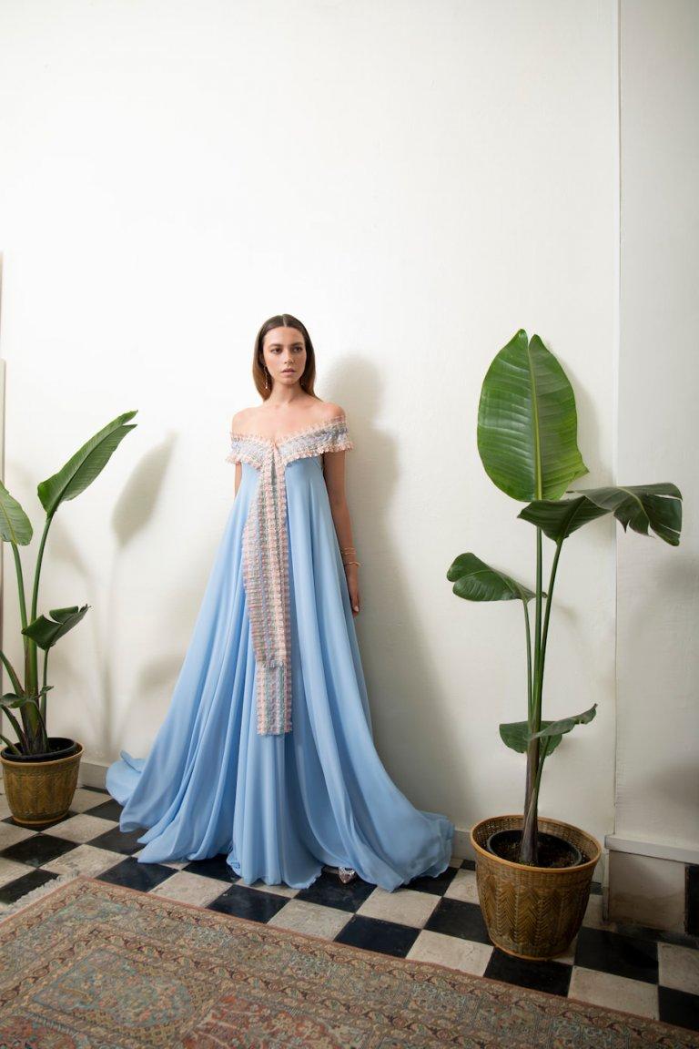 Melissa luxury maxi sky blue dress