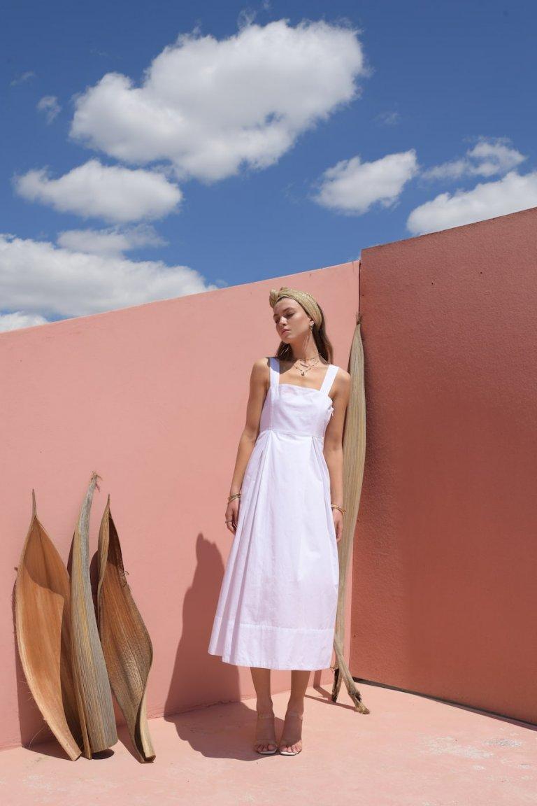 Phoebe white midi dress