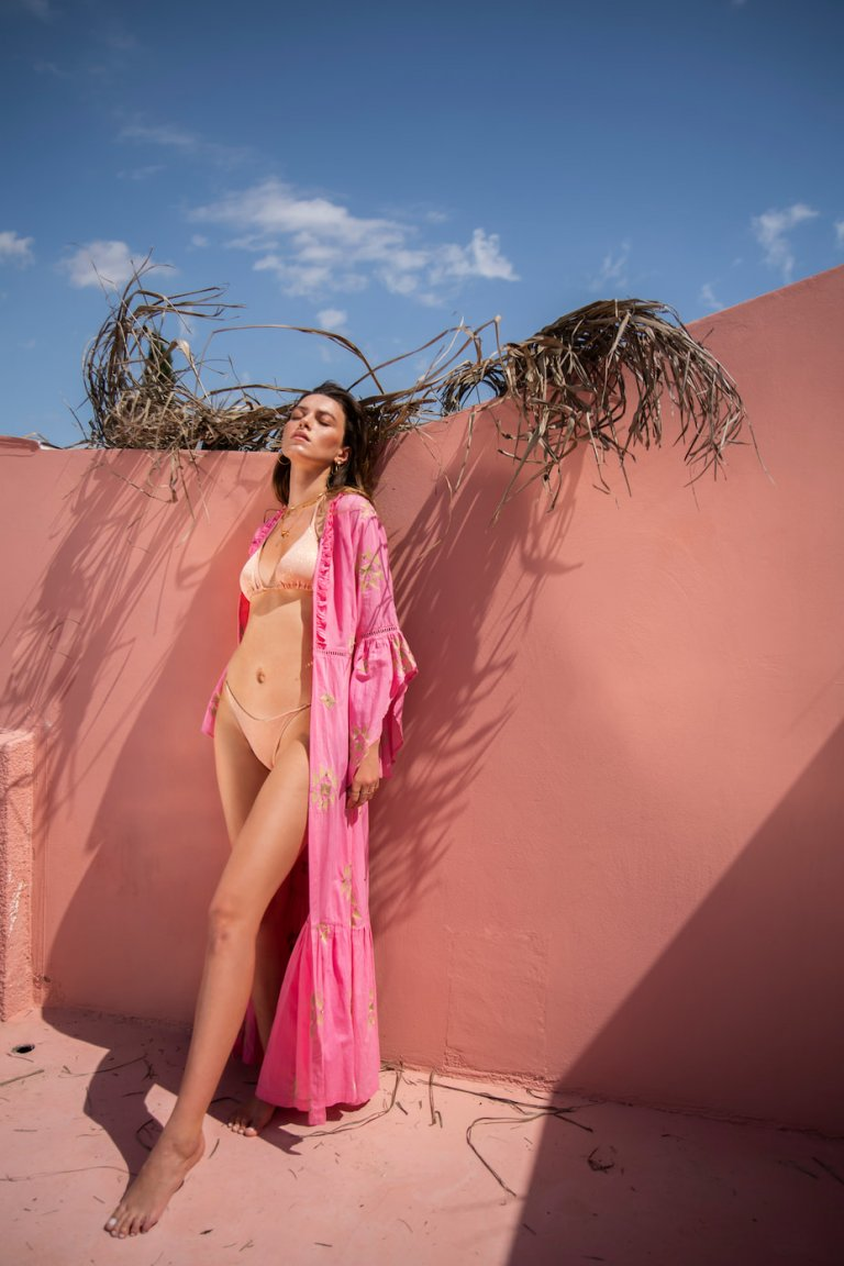 Sophia pink embroidered coverup