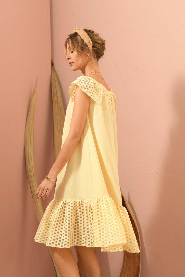 Synthia yellow dress lace trims