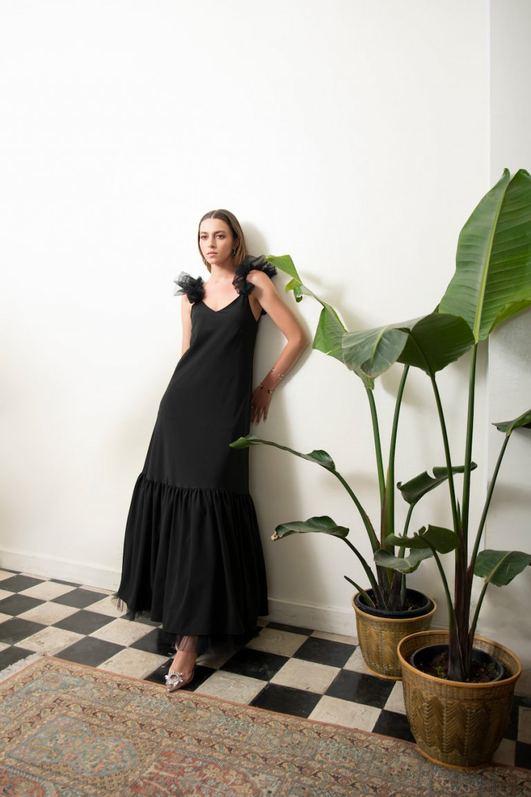 Vanessa luxury black tulle dress